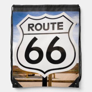 Route 66 road sign, Arizona Drawstring Bag