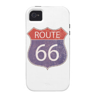 Route 66 Road Sign - red blue rusty Vibe iPhone 4 Cover
