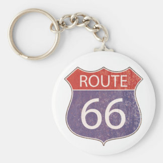 Route 66 Road Sign - red blue rusty Key Chain