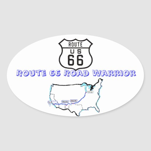 Route 66 Road Warrier Stickers