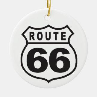 Route 66 round ceramic decoration