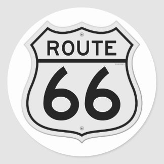 Route 66 Sign Round Sticker