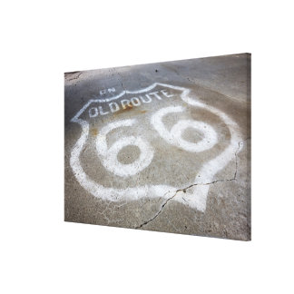 Route 66 Spray Painted on Road, Alanreed, Texas, Canvas Print