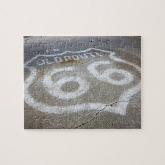 Route 66 Spray Painted on Road, Alanreed, Texas, Jigsaw Puzzle