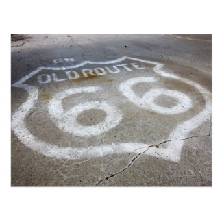 Route 66 Spray Painted on Road Alanreed Texas Postcard