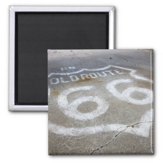 Route 66 Spray Painted on Road, Alanreed, Texas, Square Magnet