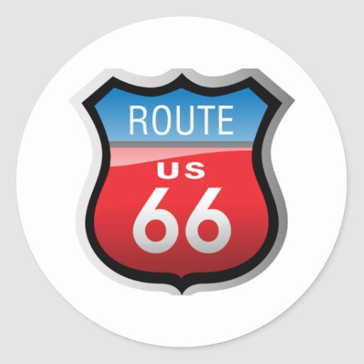 Route 66 round stickers