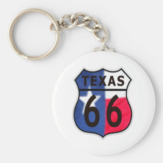 Route 66 Texas Color Basic Round Button Key Ring