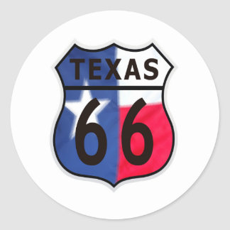 Route 66 Texas Color Classic Round Sticker