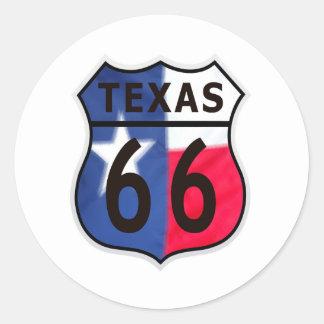 Route 66 Texas Color Round Sticker