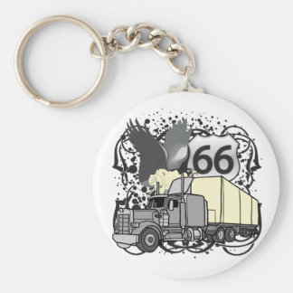 Route 66 Trucker Basic Round Button Key Ring