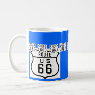 Route 66 Vintage American Road Sign Basic White Mug