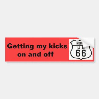 "Route 66 Vintage American Road Trip"" Bumper Sticker"