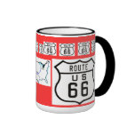 Route 66 Vintage Sign Gifts Ringer Coffee Mug