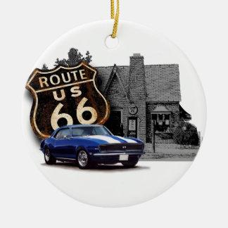 Route 66 with Camaro Round Ceramic Decoration