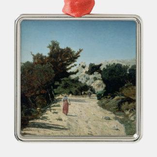 Route de la Gineste, near Marseilles, 1859 Silver-Colored Square Decoration