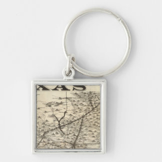 Route to Texas Silver-Colored Square Key Ring