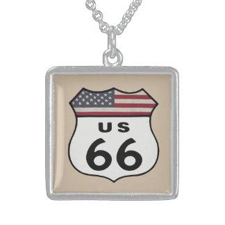 Route US 66 Square Pendant Necklace