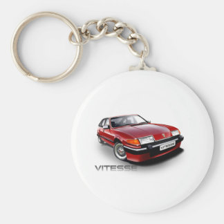 Rover SD1 Vitesse red Basic Round Button Key Ring