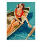 Row Boat Pin Up Art Postcard