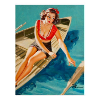 Row Boat Pin Up Art Postcard