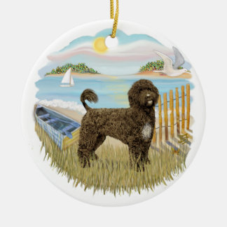 Row Boat - Portuguese Water Dog (brown) Christmas Ornament