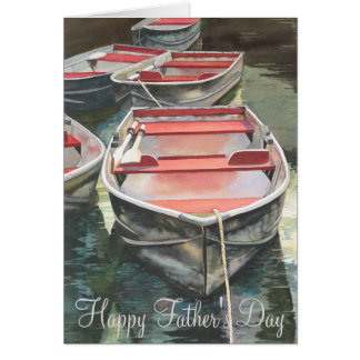 Row boat watercolor Father's Day Card