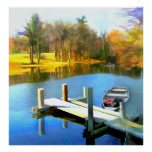 Row Boats on Blue Water Lake Poster