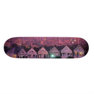 Row houses at sunset in San Francisco, 21.6 Cm Old School Skateboard Deck