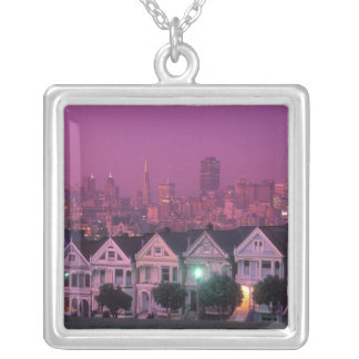 Row houses at sunset in San Francisco, Silver Plated Necklace