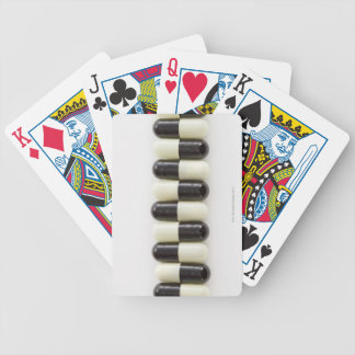 Row of Black and white pills Bicycle Playing Cards
