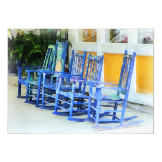 Row of Blue Rocking Chairs Card