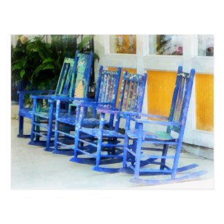 Row of Blue Rocking Chairs Postcard
