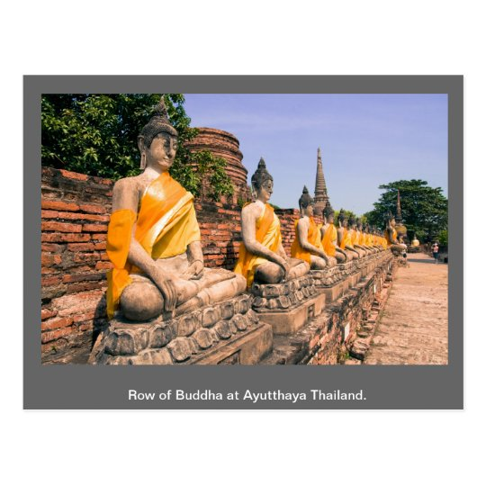 Row of Buddha at Ayutthaya Thailand. Postcard