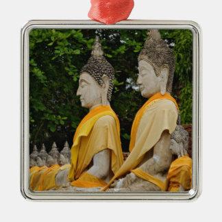 Row of Buddha statues, Wat Yai Chaya Mongkol Silver-Colored Square Decoration