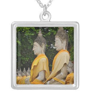 Row of Buddha statues, Wat Yai Chaya Mongkol Square Pendant Necklace
