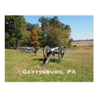 Row of cannons on the Gettysburg Battlefield Postcard