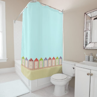 Row of Colorful Beach Huts Shower Curtain