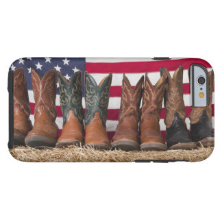 Row of cowboy boots on haystack tough iPhone 6 case