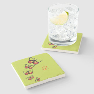 Row of Cute Butterflies Stone Coaster