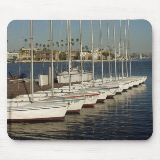 Row of Docked Sailboats Mouse Pad
