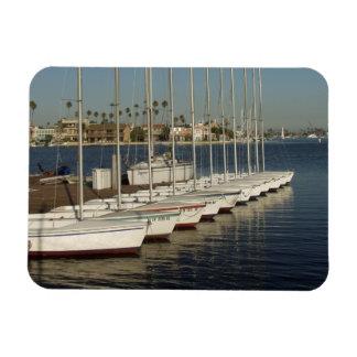 Row of Docked Sailboats Rectangular Photo Magnet