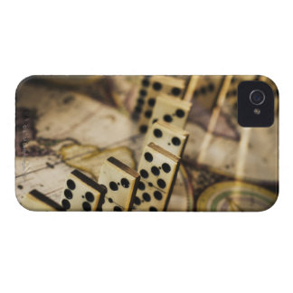Row of dominoes on old world map 2 iPhone 4 Case-Mate case