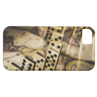 Row of dominoes on old world map 2 iPhone 5 case