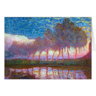 Row of Eleven Poplars in Red, Yellow, Blue Card