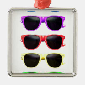 Row of funky coloured glasses ornament