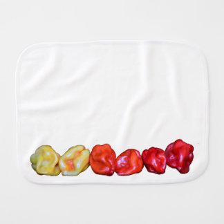 row of habanero hot pepper baby burp cloths