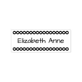Row of heart Dots Personalized Rubber Stamp