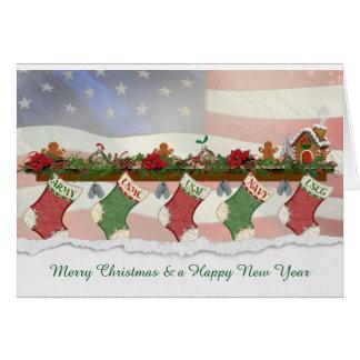 row of military Christmas stockings Card