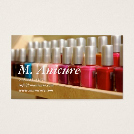 row of multi coloured nailpolishes business card